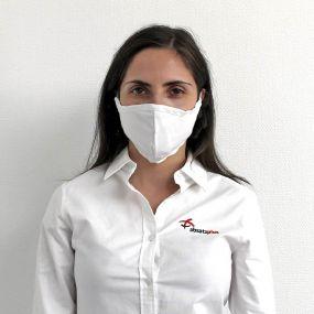 Mund- und Nasenmaske in Gesichtsform als Werbeartikel