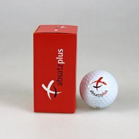 2er Golfball Verpackung, außen individuell gestaltet als Werbeartikel