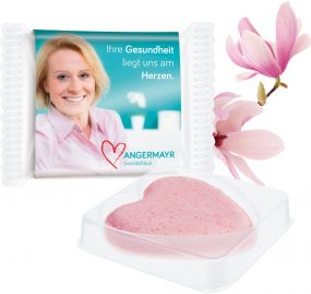 Badeherz Magnolia - Sachet mit Banderole als Werbeartikel