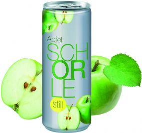 Apfelschorle still in der Dose, Fullbody (pfandfrei) als Werbeartikel