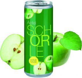 Apfelschorle still in der Dose, Smart Label (pfandfrei) als Werbeartikel