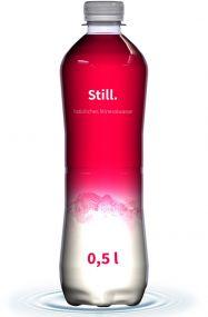 Mineralwasser Flasche Slimline, 500 ml, still, Fullbody (Export) als Werbeartikel