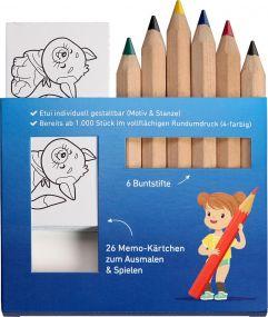JUMBO Buntstift Memo-Set, inklusive Rundumdruck, Mal- und Spieleset als Werbeartikel
