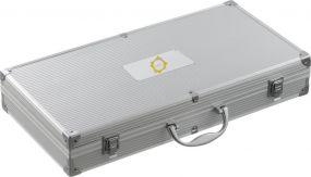 BBQ Grillkoffer mit Metallplättchen als Werbeartikel