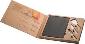 Schieferplatte Formaggio mit Käsebesteck als Werbeartikel
