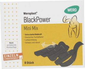 Pflasterset BlackPower Mini Mix 8-teilig als Werbeartikel