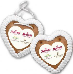 Lebkuchenherz Größe 3 mit Herzpapieraufleger als Werbeartikel