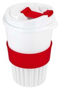 Kaffeebecher to go 350 ml mit Soft-Manschette als Werbeartikel