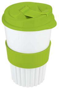 BIO-Kaffeebecher to go 350 ml inkl. IML mit Soft-Manschette als Werbeartikel