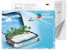 LapKoser® 3in1 Notebookpad 21x15 cm im Polybeutel mit Standardkarte als Werbeartikel