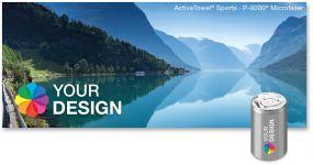 ActiveTowel® Sports Microfaser-Sporthandtuch 100 x 40 cm in der Dose individuell als Werbeartikel