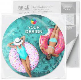 GripCleaner® 4in1 Mousepad Kreis 20cm Ø im Polybeutel mit Standardkarte als Werbeartikel