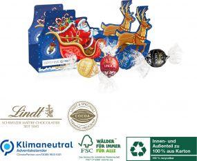 Ökologischer Adventskalender-Schlitten mit vier Türchen als Werbeartikel
