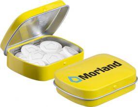 Mini Klappdeckeldose mit Logo Pfefferminz