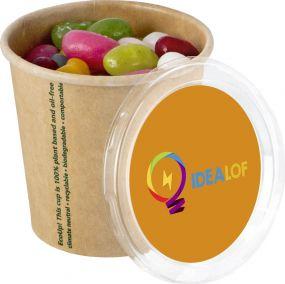 Jelly Beans im Bio Becher mit Aufkleber als Werbeartikel