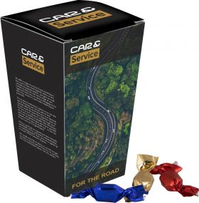 Auto Box mit Metallic Sweets als Werbeartikel