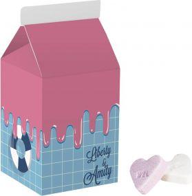 Kleine Milchpackung Frucht Herzen als Werbeartikel