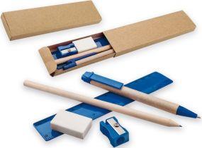 Schreibset Millet mit Kugelschreiber, gespitztem Bleistift, Lineal und Spitzer als Werbeartikel