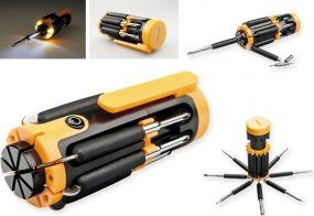 TEX Werkzeugsseet, 4 LED Lampe, 8 Funktionen als Werbeartikel