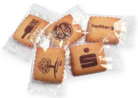 Bedruckte Vanille-Butterkekse in Klarsichtfolie als Werbeartikel