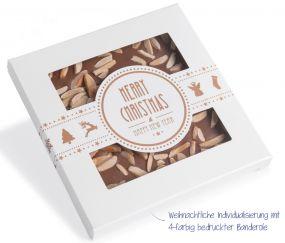 Handgeschöpfte Schokolade in quadratischer Kartonage mit Sichtfenster Xmas als Werbeartikel