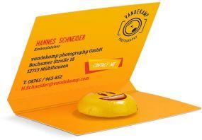 Werbekarte Visitenkartenformat Lindt HELLO Mini Emoti als Werbeartikel