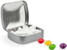 Klapp Dose Skittles Kaubonbons, Prägung als Werbeartikel