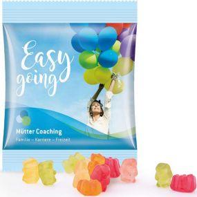 Zuckerreduzierte Gummibärchen Minitüte als Werbeartikel