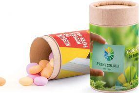 Papierdose Eco Midi, ungewickelte Bonbons als Werbeartikel