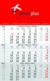 3-Monatswandkalender mit individuell bedrucktem Kopfteil 4/0-farbig als Werbeartikel