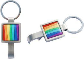 Schlüsselanhänger Squarebottle mit Flaschenöffner als Werbeartikel