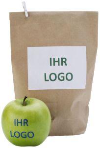Braune Papiertüte mit Aufkleber-Etikett als Verpackung als Werbeartikel