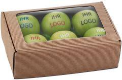 Sixpack mit Sichtfenster für sechs Äpfel als Werbeartikel