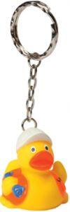 Schlüsselanhänger Quietsche-Ente Bauarbeiter als Werbeartikel