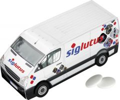 Lieferwagen mit 2 Paletten Pfefferminz als Werbeartikel